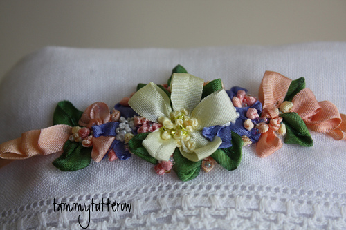 Vintage hanky bonnett with silk ribbon embroidery