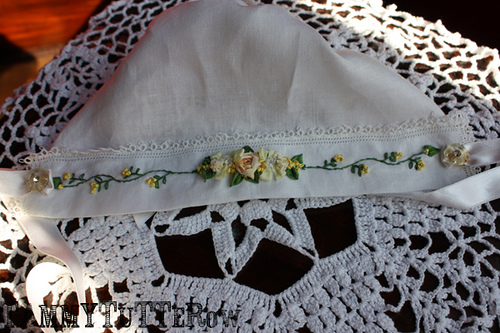 Baby to Bride Bonnet with yellow floral motif
